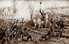 1897 drawing of Grant's attack, depicting C.F. Smith on horseback leading his troops