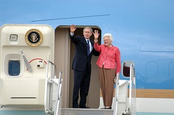 President George W. Bush and his mother Barbara prepare to board Air Force One, 2005