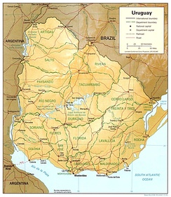 An enlargeable relief map of the Eastern Republic of Uruguay