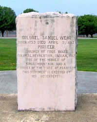 Monument honoring Samuel Wear in Pigeon Forge City Park.