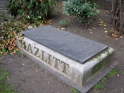 The site of Hazlitt's grave in the churchyard of St Anne's, Soho, with a new memorial commissioned following a campaign led by Tom Paulin.