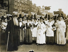 Welsh suffragists in traditional dress at the Women's Coronation Procession in London, 1911