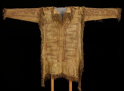 Leather Shirt, c. 1720–1750. This one-of-a-kind shirt was created in the early 18th century by Native Americans living in New France, and acquired by a French voyageur. Made of antelope hide, the interlocking abstract painted designs probably represent the sacred Thunderbird.