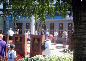 The original Monument Park consisted of a row of monuments with plaques lining the wall behind them