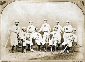 The Cincinnati Red Stockings in 1868, one year before they turned into a professional league fully  .