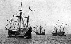 Pinta, Santa María, and Niña replicas from Spain
