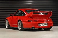The Porsche 993 GT features a prominent rear wing