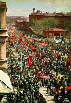 1st May demonstration on Prospekt of October, 25. Isaak Brodsky, 1934. Tretyakov Gallery, Moscow