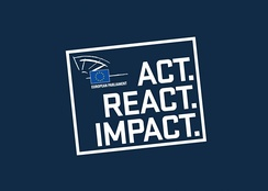 Logo and slogan of the European Parliament election 2014: Act. React. Impact.