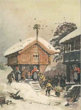 1846 painting by Adolph Tidemand illustrating Norwegian Christmas traditions.