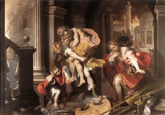 Aeneas Flees Burning Troy, by Federico Barocci (1598). Galleria Borghese, Rome, Italy