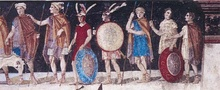 An ancient fresco of Macedonian soldiers from the tomb of Agios Athanasios, Thessaloniki, Greece, 4th century BC