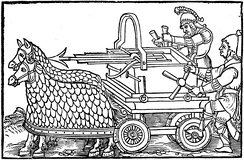A four-wheeled carroballista drawn by armored horses, from an engraving illustrating a 1552 edition of the war-machine catalog De Rebus Bellicis (c. 400)
