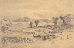 The battle of Cross Keys—Sunday June 7, 1862 [sic]—Genl. Fremont and Genl. Jackson, drawing by Edwin Forbes.
