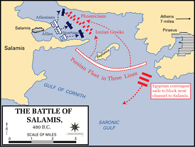 The epic Battle of Salamis between Greek and Persian naval forces.