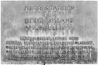 "Memorial at the Bendlerblock: ""Here died for Germany on 20 July 1944"" (followed by the names of the principal conspirators)"