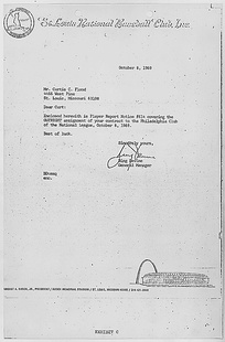 Cardinals general manager Bing Devine's letter to Flood, informing him that he had been traded to the Phillies.