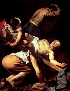 The Crucifixion of Saint Peter, 1601. Cerasi Chapel, Santa Maria del Popolo, Rome