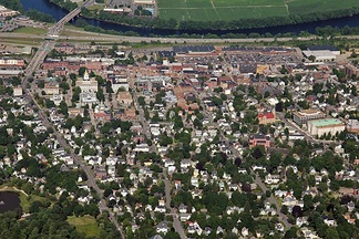 Aerial view of downtown Concord (looking east)