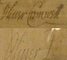 Cromwell's signature before becoming Lord Protector in 1653, and afterwards. 'Oliver P', standing for Oliver Protector, similar in style to English monarchs who signed their names as, for example, 'Elizabeth R' standing for Elizabeth Regina.