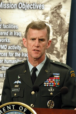 McChrystal at the Pentagon in April 2003, giving a briefing regarding the Iraq War.