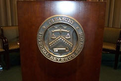 IRS and Department of the Treasury seal on lectern