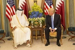 Emir Tamim bin Hamad Al Thani with U.S. President Donald Trump in May 2017