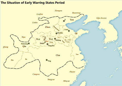 Map showing states at the beginning of Warring States period of Zhou Dynasty in Chinese history[citation needed]