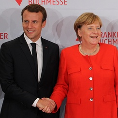 Macron with German Chancellor Angela Merkel in Frankfurt, on 10 October 2017
