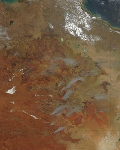 Satellite image of fire activity in central Australia