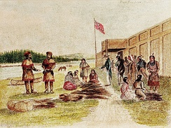 Fur trading at Fort Nez Percé in 1841