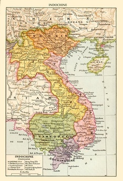 Map of French Indochina in the 1930s