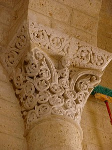 Capital of Corinthian form with Byzantine decoration and carved dosseret, San Martín de Tours, Palencia