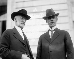 Smoot (right) with Heber J. Grant, president of the LDS Church, c. 1918–1920.