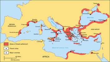 Greek territories and colonies during the Archaic period (750–550 BC)
