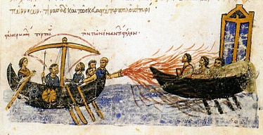 Byzantine manuscript illustration showing Greek fire in action