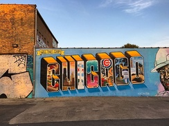 Greetings from Chicago Mural in Logan Square