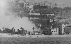 An Israeli bombardment of a PLO position on the Lebanese coast