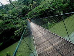 A hanging bridge in ecotourism area of Thenmala, Kerala in India - India's first planned ecotourism destination