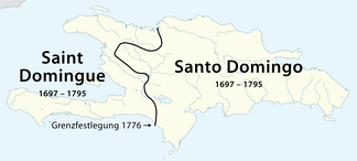 French colony of Saint-Domingue in the West and Spanish colony of Santo Domingo in the East of Hispaniola island during colonial years.