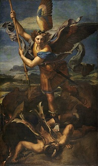 Le Grand Saint Michel, by Raphael (Raffaello Sanzio), Archangel Michael defeating evil
