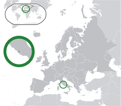The location of Vatican City within Europe