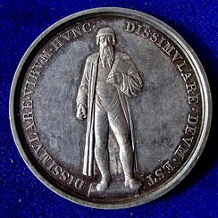 Thorwaldsen's Gutenberg Denkmal in Mainz on an 1840 medal of the printing press' 400th anniversary.