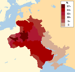Map of the Pale of Settlement, showing percentage of Jewish populations