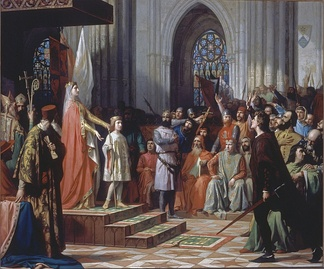 María de Molina shows her Ferdinand IV in the Cortes of Valladolid of 1295, by Antonio Gisbert, 1863. Currently displayed in the Congress of Deputies, Spain.