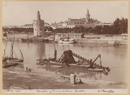 The Torre del Oro and the harbor in the second half of the 19th century