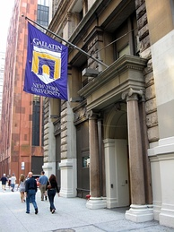 Flags identify NYU buildings around the city. This flag is for the Gallatin School of Individualized Study.