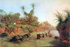 An 1850 oil painting by Charles Christian Nahl: The Isthmus of Panama on the height of the Chagres River