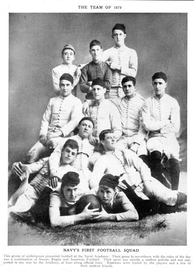 Navy's first football team gathered for a team portrait in 1879