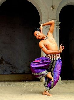 A male Odissi dancer
